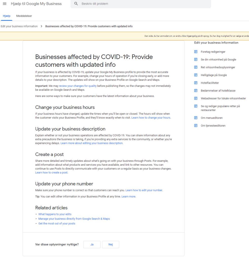 Google My Business - Opdater Profil Hjælpedokument